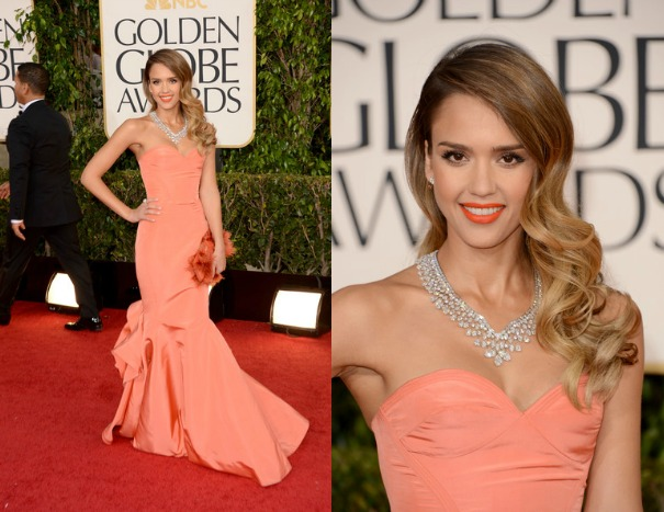 Jessica-Alba-Orange-Oscar-de-la-Renta-Pre-Fall-2013-collection-strapless-gown-Harry-Winston-diamond-bib-necklacec-2013-golden-globe-awards-